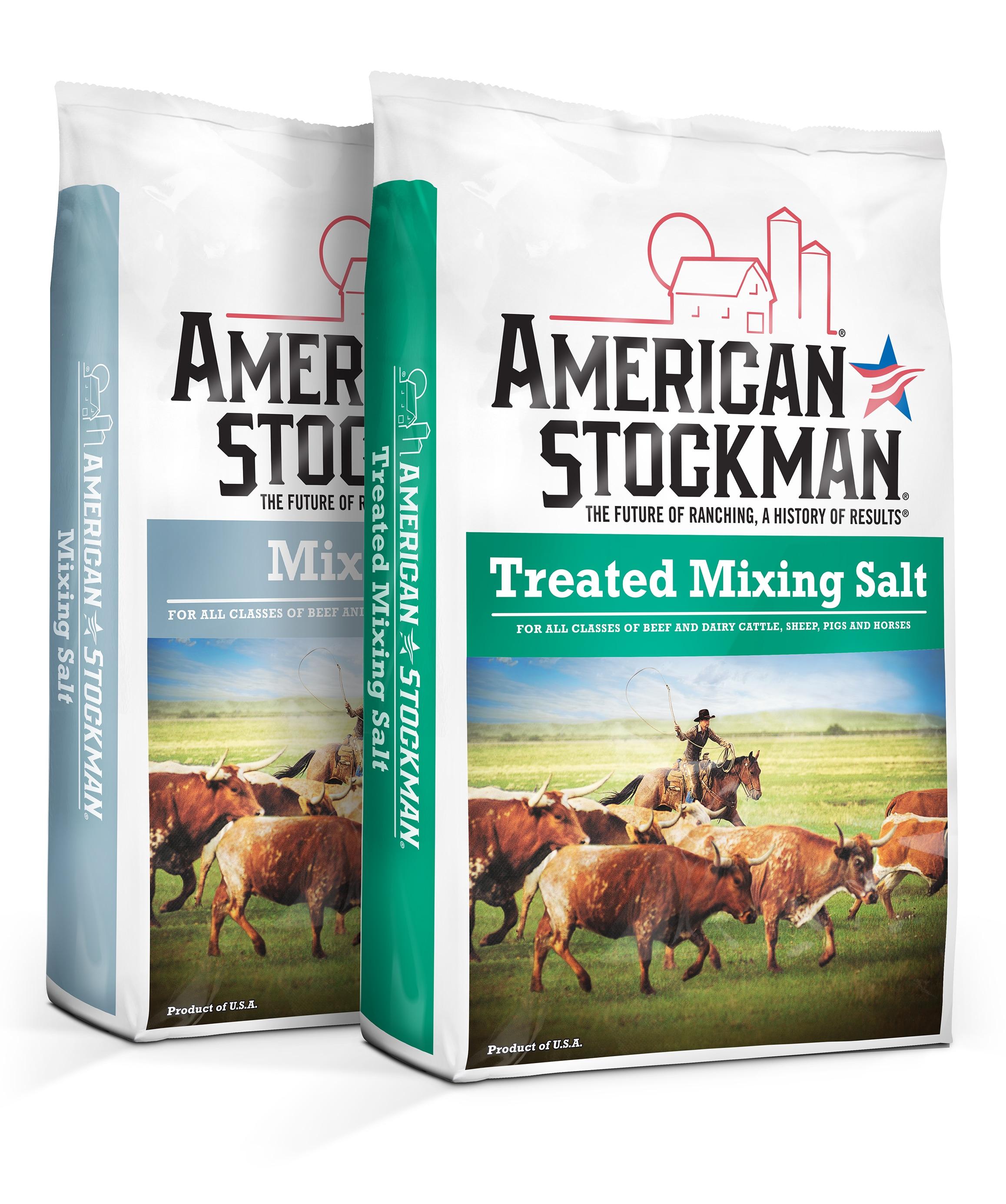 American Stockman® Mixing Salt and American Stockman® Treated Mixing Salt bags