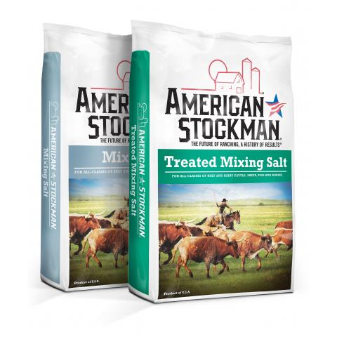 American Stockman® Mixing Salt and American Stockman® Treated Mixing Salt bags